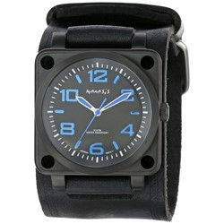 Nemesis Men's KIN76L Signature Blue SQDrive Leather Cuff Band Watch