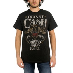 Johnny Cash - Rock N Roll Adult T-Shirt in Black