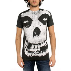 The Misfits - All-Over Misfits Skull Big Print Subway Mens T-Shirt In Coal