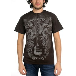Guitar Designs - Guitar Lions Mens T-Shirt In Dark Chocolate