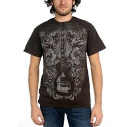 Guitar Designs - Guitar Lions Mens T-Shirt In Dark Chocolate