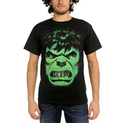 Marvel Comics - Mens The Incredible Hulk Angry Face T-Shirt In Black