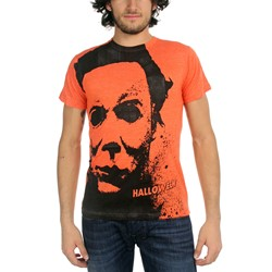 Halloween Splatter Mask Big Print Subway T-Shirt In Orange Heather