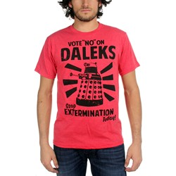 Dr. Who - Vote No On Daleks Mens T-shirt in Red Heather