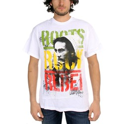 Bob Marley - Roots Rock Rebel Adult T-Shirt in White