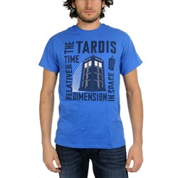 Dr. Who - Mens Tardis Time Relative Diadion Space T-shirt in Dark Blue