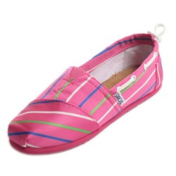 Toms - Youth Slip-On Pink Stripe Bimini Shoes
