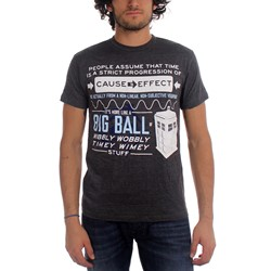 Dr. Who - Mens Wibbly Wobbly Quote T-Shirt in Grey