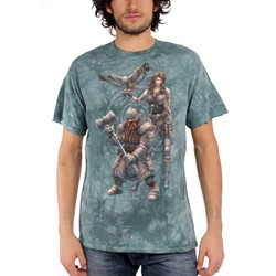 Fantasy - Dwarf And Huntress With Owl Adult T-Shirt In Medium Green Vat Dye