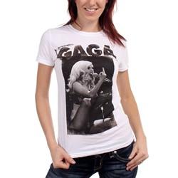 Lady Gaga - Juniors Finger T-Shirt In White