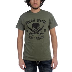 Metal Blade Records - Mens Pirate logo Military Green T-Shirt in Military Green