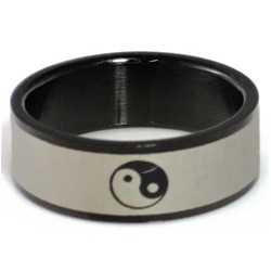 Blackline Ying Yang Design Stainless Steel Ring by BodyPUNKS (RBS-031)