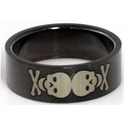 Blackline Skulls Design Stainless Steel Ring by BodyPUNKS (RBS-028)