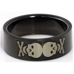 Blackline Skulls Design Stainless Steel Ring by BodyPUNKS (RBS-028)