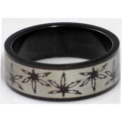 Blackline Pot Leaf Design Stainless Steel Ring by BodyPUNKS (RBS-020)