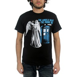 Dr. Who - Angels Have Phone Box Weeping Angel Men's T-Shirt in Black