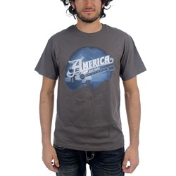 America - Mens Blue Guitar T-shirt in Charcoal