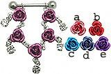 5 Dangling Roses Sterling Silver Nipple Shield