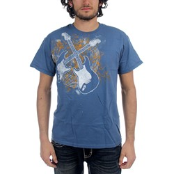 Guitar Designs - Crossed Guitars Mens T-Shirt In Indigo Blue
