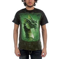 Fantasy - Green Dragon Adult T-Shirt In Dark Green Crinkle Dye