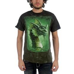 Fantasy - Green Dragon Adult T-Shirt In Dark Green Crinkle Dye