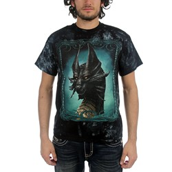 Fantasy - Black Dragon Adult T-Shirt In Black/Green Vat Dye