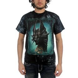 Fantasy - Black Dragon Adult T-Shirt In Black/Green Vat Dye
