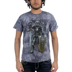 Fantasy - Dark Knight Adult T-Shirt In Grey Sky Vat Dye