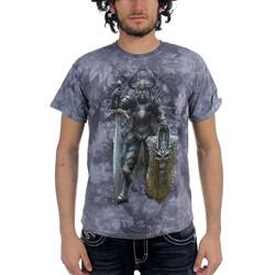 Fantasy - Dark Knight Adult T-Shirt In Grey Sky Vat Dye