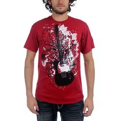Guitar Designs - Guitar Floral Mens T-Shirt In Cardinal Red