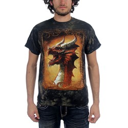 Fantasy - Red Dragon Adult T-Shirt In Black/Brown Vat Dye