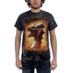 Fantasy - Red Dragon Adult T-Shirt In Black/Brown Vat Dye
