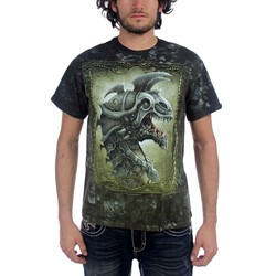 Fantasy - Battle Dragon Adult T-Shirt In Dark Green Crinkle Dye