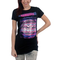 Ramones - Womens Bright Plaid Seal T-shirt in Black
