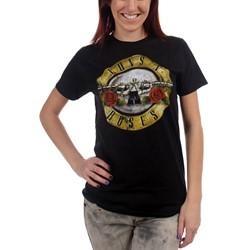 Guns N Roses  - Juniors Distressed Bullet T-Shirt In Black