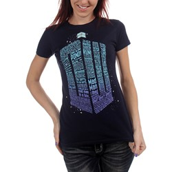 Dr. Who - Womens Logo Of Words T-Shirt in Navy