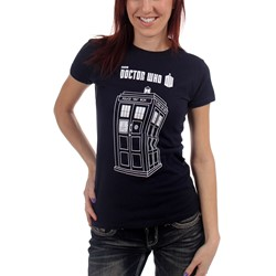 Dr. Who - Womens Series 7 Linear Tardis T-Shirt in Navy