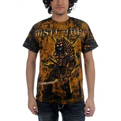 Disturbed - Warrior Allover Mens T-Shirt In Black/Gold