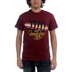 The Beach Boys - Mens Surfboard T-shirt in Cranberry