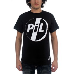 Pil - White Logo On Black Tee Mens S/S T-Shirt In Black