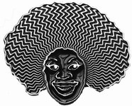 Chick With Afro Belt Buckle (Black and Silver Grey)