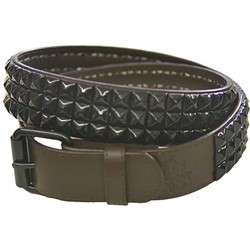 Brown 3 row pyramid studded leather belt W/ black studs