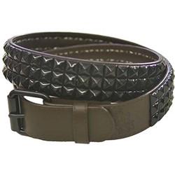 Brown 3 row pyramid studded leather belt W/ black studs