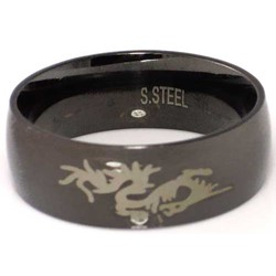 Blackline Dragon Design Stainless Steel Ring by BodyPUNKS (RBS-024)