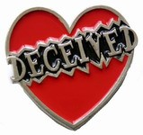 Deceived in Heart Belt Buckle (Red, Black, and Silver Grey)