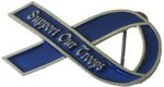 SUPPORT OUR TROOPS buckle (Blue and Silver Grey)