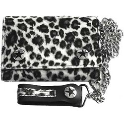 White and Grey Fuzzy Leopard Print Wallet w/ Chain