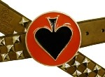 BLACK SPADES IN RED CIRCLE BELT BUCKLE (Black and Red)
