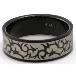 Blackline Tribal Design Stainless Steel Ring by BodyPUNKS (RBS-023)