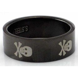 Blackline Skulls Design Stainless Steel Ring by BodyPUNKS (RBS-004)